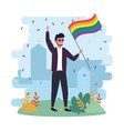 man wearing sunglasses with rainbow flag to vector image vector image