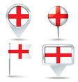 Map pins with flag of England vector image