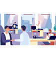 office routine happy people at work greeting new vector image vector image