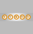 orange white round music control buttons set vector image
