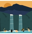 peoples swim in waterfall boys and girls vector image vector image