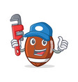 plumber american football character cartoon vector image vector image
