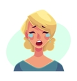 Pretty blond woman crying facial expression vector image
