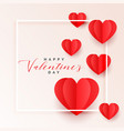 red origami paper hearts valentines day background vector image vector image
