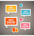 Retro Paper Tags with Happy Easter Title and Eggs vector image vector image