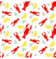 seamless seafood pattern with boiled crayfish vector image vector image