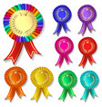 set many colorful festive medals with crown vector image