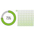 set of circle percentage progress bar diagrams vector image