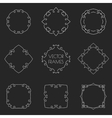 Set of thin outline vintage frames on chalkboard vector image