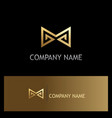 sharp line letter m gold logo vector image