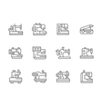 Simple black line sewing equipment icons vector image vector image