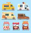 street fast food delivery trucks flat set vector image vector image
