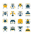 transformer robot icon set artificial intelligence vector image
