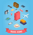 travel icons in isometric style travel and vector image