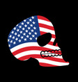 usa skull head of skeleton and flag of america vector image vector image