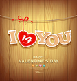 Valentines with text i love you and red ribbons vector image vector image