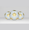 white and gold soccer ball realistic vector image vector image
