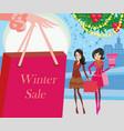 winter shopping card vector image