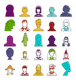 woman avatar icon set color outline style vector image vector image
