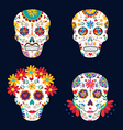 Day of the dead skulls for mexican celebration vector image