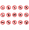 set of prohibited sign vector image