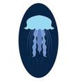 blue jellyfish in sea on white background vector image