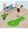 businesswoman playing mini golf in his office vector image vector image