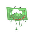 cartoon fifty dollars with face arms and legs vector image vector image