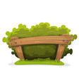 cartoon hedge with wood barrier vector image