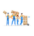 cartoon loaders movers team with cardboard boxes vector image