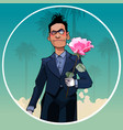 cartoon male clown in black suit with rose in hand vector image vector image