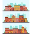 Central street Flat design urban landscape with vector image vector image