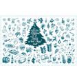 christmas toys hand drawn icons set vector image vector image