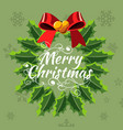 christmas wreath of holly with red berries vector image vector image