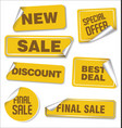 collection of yellow sale stickers with rounded vector image