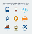 colored city and public transportation icons set vector image vector image