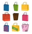 Colourful paper shopping bags isolated on white vector image vector image