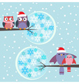 Couples of owls and birds winter vector image vector image