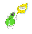 cute cartoon concept with funny bug scarab leaf vector image vector image