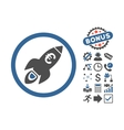 Euro Rocket Startup Flat Icon With Bonus vector image vector image