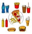 Fast food snacks dessert and beverages vector image vector image