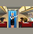 flight attendant doing safety demonstration vector image vector image