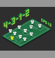 football 4-3-1-2 formation with isometric field vector image vector image