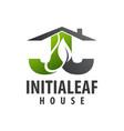 initial letter jj leaf house logo concept design vector image vector image