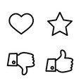 like dislike voting and rating icon set hand with vector image vector image