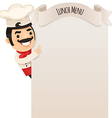 male chef looking at blank menu vector image vector image