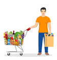 man shopping in supermarket vector image vector image