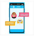 messenger chatting on smartphone vector image vector image