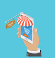 mobile store flat isometric concept vector image vector image