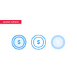 money coin icon in line outline filled outline vector image